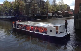 Boat rental Amsterdam. Canal tour boat The Lounge